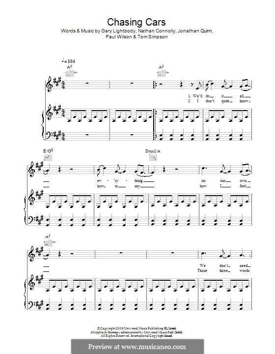 Chasing Cars (Snow Patrol): Für Stimme und Klavier (oder Gitarre) by Gary Lightbody, Jonathan Quinn, Nathan Connolly, Paul Wilson, Tom Simpson