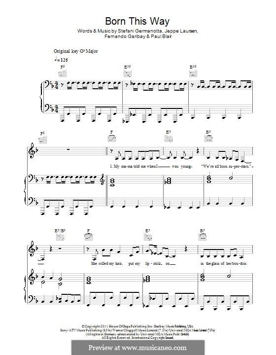 Born This Way: Für Stimme und Klavier oder Gitarre (F-Dur) by Fernando Garibay, Jeppe Laursen, Paul Blair, Stefani Germanotta