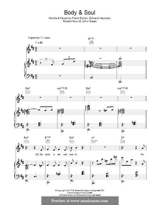 Body and Soul: Für Stimme mit Klavier oder Gitarre (Tony Bennett and Amy Winehouse) by John W. Green