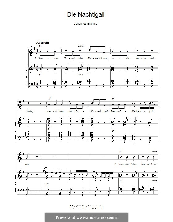 Volkskinderlieder, WoO 31: Nr.2 Die Nachtigall by Johannes Brahms