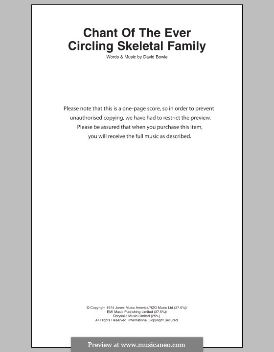 Chant of the Ever Circling Skeletal Family: Text und Akkorde by David Bowie