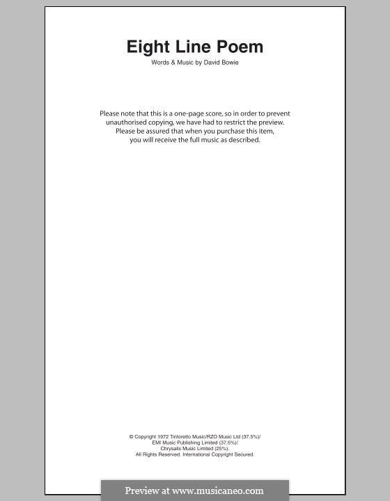 Eight Line Poem: Text und Akkorde by David Bowie