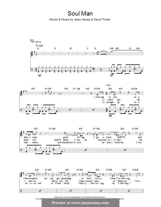Soul Man (Sam & Dave): Für Trommeln by David Porter, Isaac Hayes