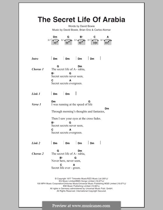 The Secret Life of Arabia: Texte und Akkorde by Brian Eno, Carlos Alomar, David Bowie