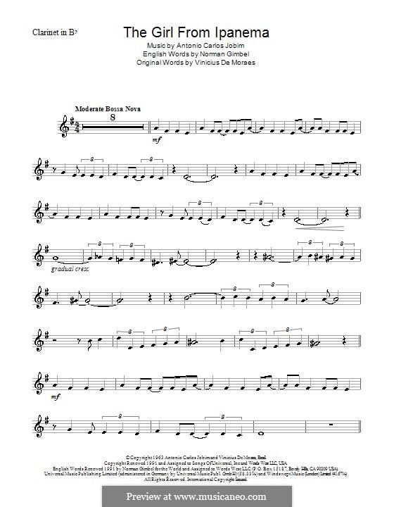 The Girl from Ipanema (Garota de Ipanema): Für Klarinette by Antonio Carlos Jobim
