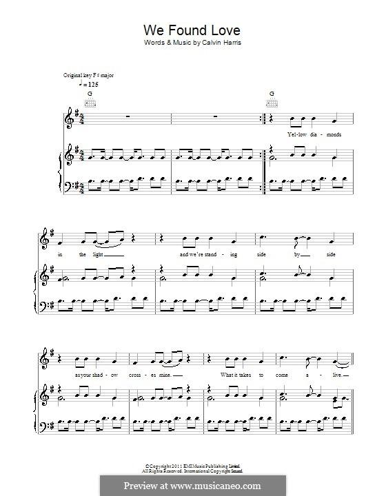 We Found Love: Für Stimme und Klavier (oder Gitarre) by Calvin Harris