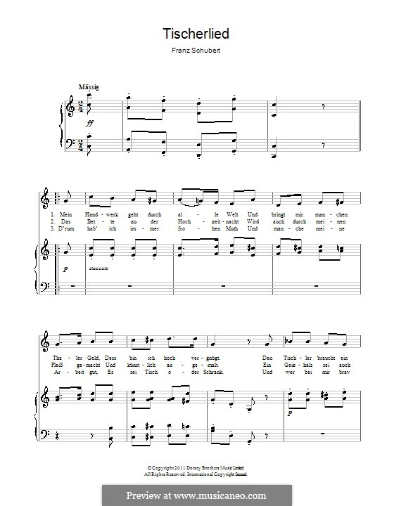 Tischlerlied, D.274: Für Stimme und Klavier by Franz Schubert