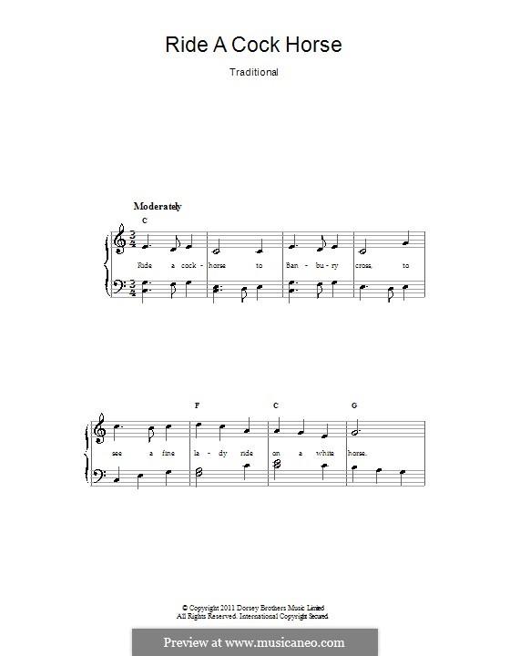 Ride a Cock Horse: Für Stimme und Klavier by folklore