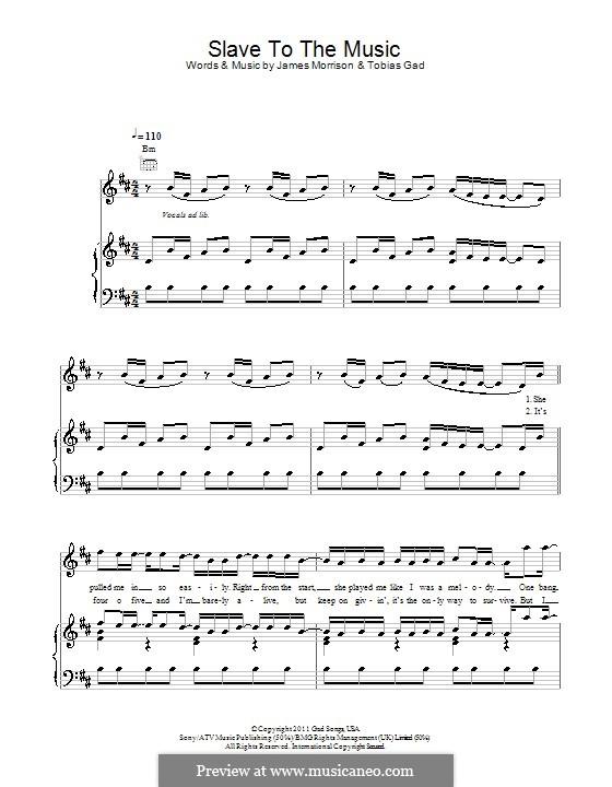 Slave to the Music: Für Stimme und Klavier (oder Gitarre) by James Morrison, Tobias Gad
