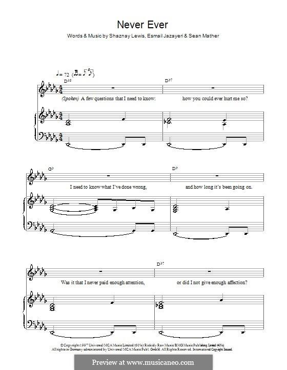 Never Ever (All Saints): Für Stimme und Klavier by Esmail Jazayeri, Sean Mather, Shaznay Lewis
