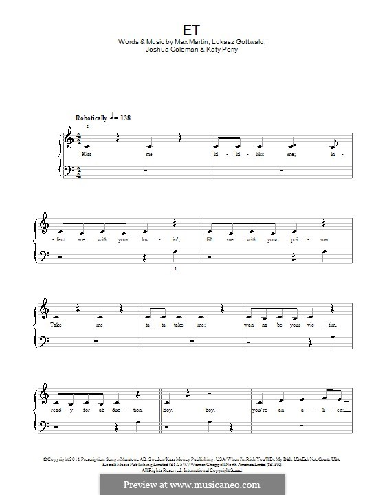 E.T. (Katy Perry): Für Klavier by Joshua Coleman, Lukas Gottwald, Max Martin