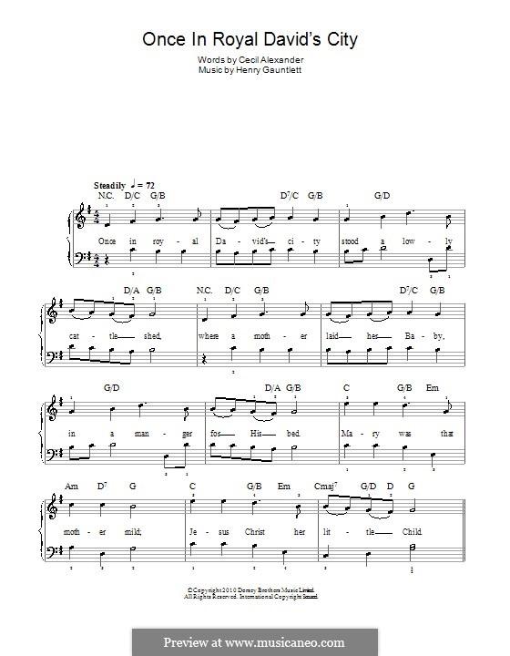 Einst in der königlichen Stadt David: Für Klavier (mit Akkorde) by Henry John Gauntlett