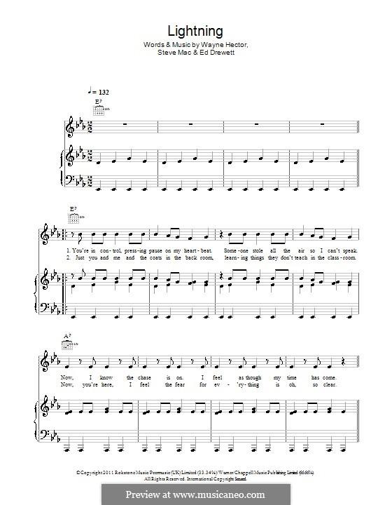 Lightning (The Wanted): Für Stimme und Klavier (oder Gitarre) by Ed Drewett, Steve Mac, Wayne Anthony Hector