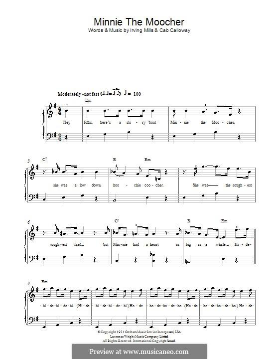 Minnie the Moocher: Für Klavier, leicht by Irving Mills, Cab Calloway