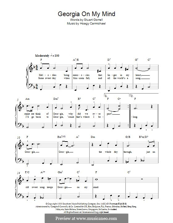 Georgia on My Mind, for Piano: Easy version (with chords) by Hoagy Carmichael