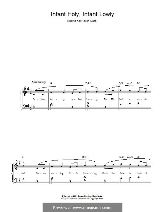Infant Holy, Infant Lowly: Für Klavier, leicht by folklore