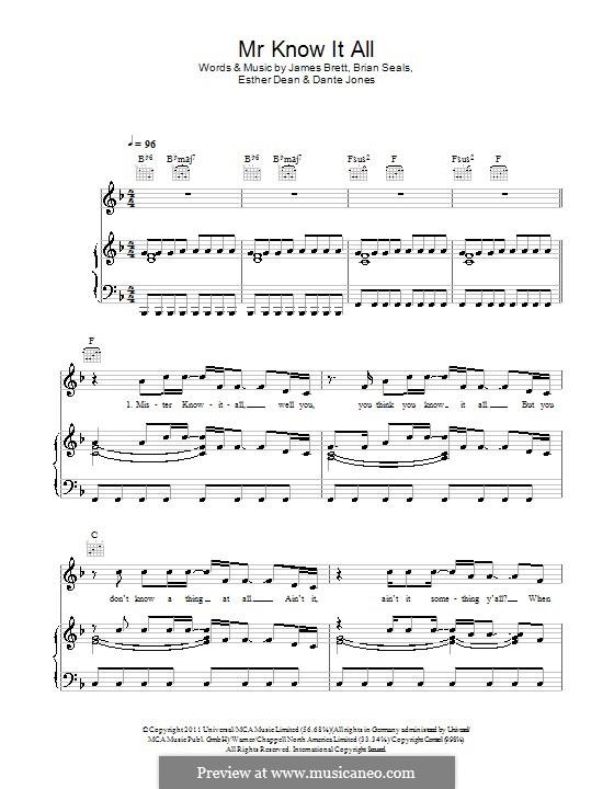 Mr. Know It All (Kelly Clarkson): Für Stimme und Klavier (oder Gitarre) by Brett James, Brian Kennedy Seals, Dante Jones, Esther Dean