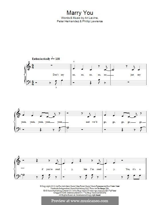 Marry You: Für Klavier, leicht by Ari Levine, Bruno Mars, Philip Lawrence