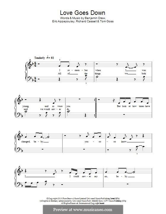 Love Goes Down (Plan B): Einfache Noten für Klavier by Benjamin Drew, Eric Appapoulay, Richard Cassell, Tom Goss