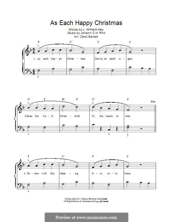 As Each Happy Christmas: Für Stimme und Klavier by Johann C.H. Rink