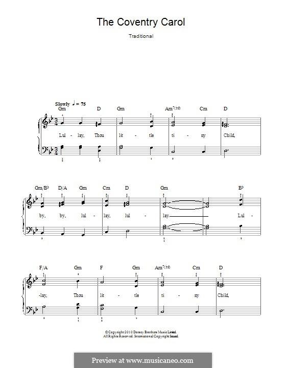 Coventry Carol: Für Klavier, leicht by folklore