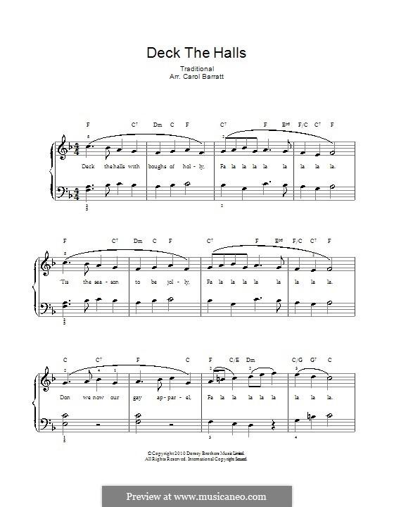Deck the Hall (Printable): Für Stimme und Klavier by folklore