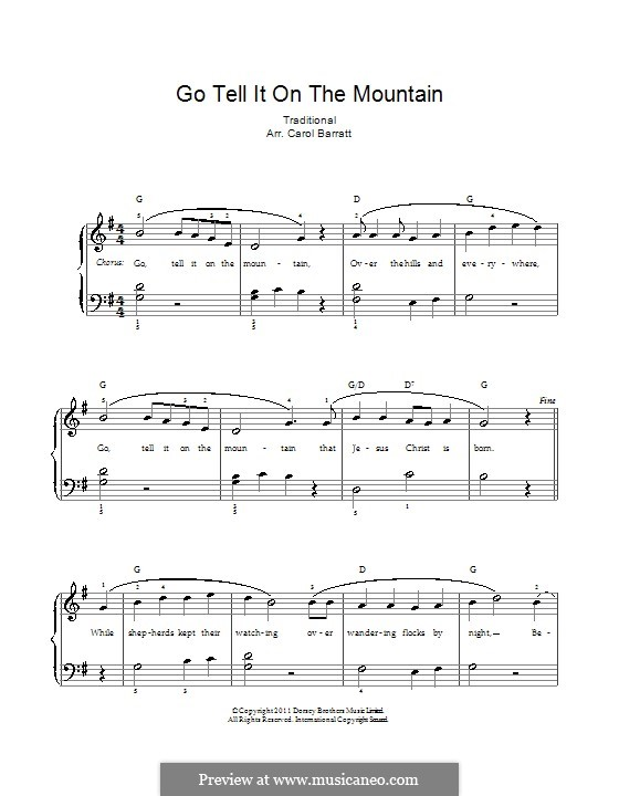 Go, Tell it on the Mountain (Printable Scores): Für Stimme und Klavier by folklore
