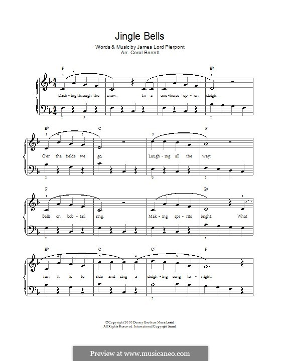 Jingle Bells (Printable scores): Für Stimme und Klavier by James Lord Pierpont