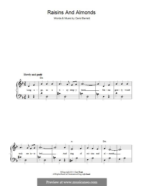Raisins and Almonds: Für Stimme und Klavier by Carol Barratt