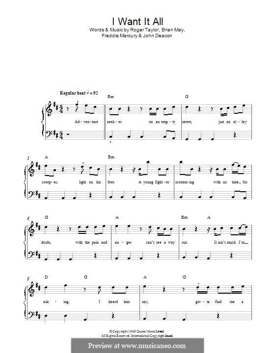 I Want it All (Queen): Für Klavier, leicht by Brian May, Freddie Mercury, John Deacon, Roger Taylor