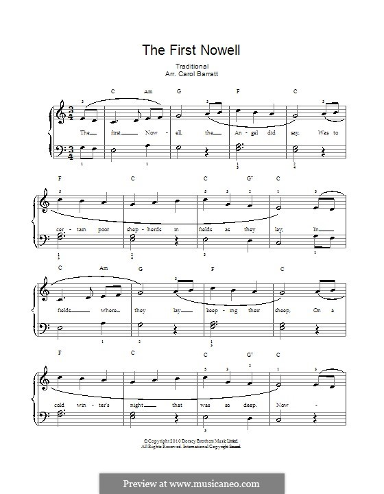 The First Nowell (The First Noël), Printable scores: Klavierauszug mit Singstimmen by folklore