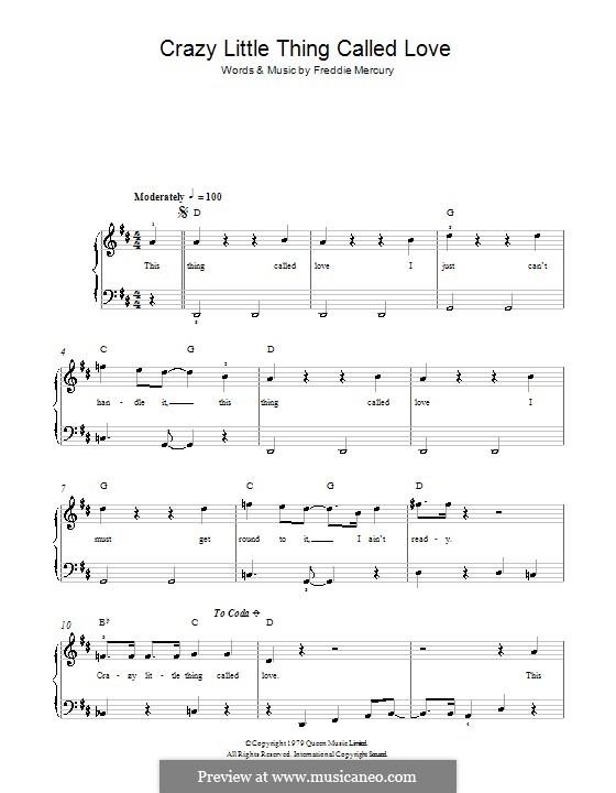 Crazy Little Thing Called Love (Queen): Für Klavier, leicht by Freddie Mercury