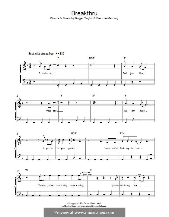 Breakthru (Queen): Für Klavier, leicht by Brian May, Freddie Mercury, John Deacon, Roger Taylor