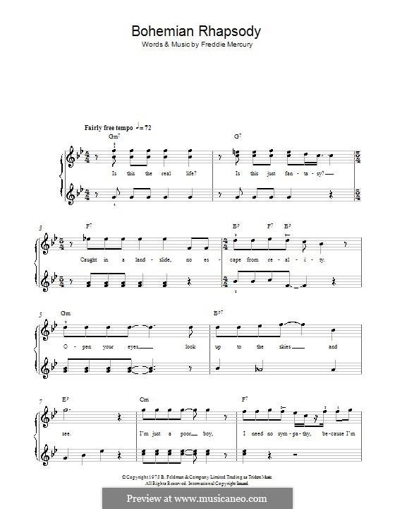 Bohemian Rhapsody (Queen): Für Klavier, leicht by Freddie Mercury