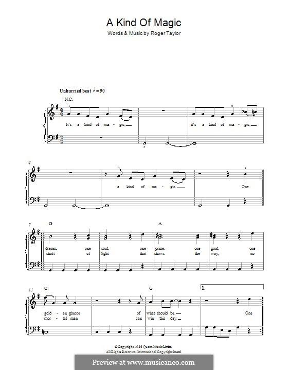 A Kind of Magic (Queen): Einfache Noten für Klavier by Roger Taylor