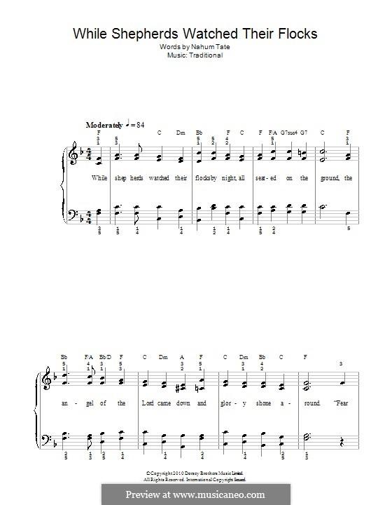 While Shepherds Watched Their Flocks: Für Klavier, leicht by folklore