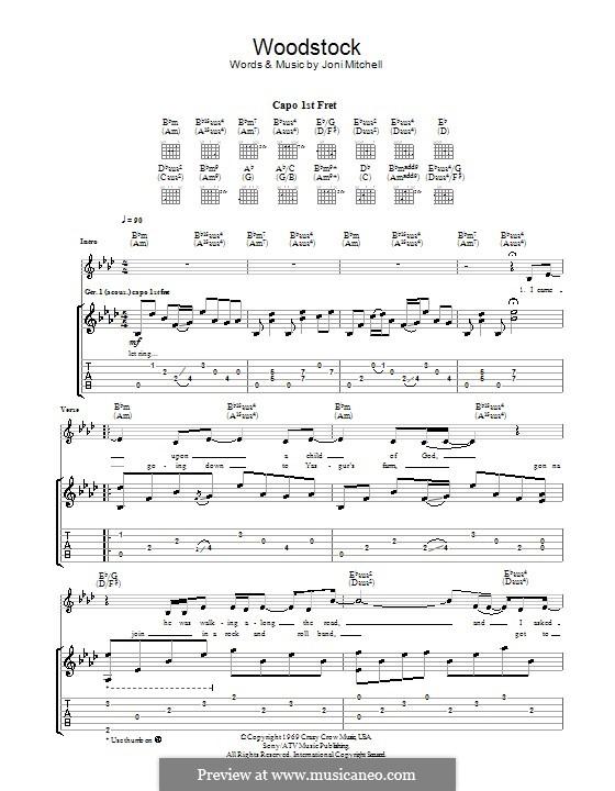 Woodstock (Eva Cassidy): Für Gitarre mit Tabulatur by Joni Mitchell