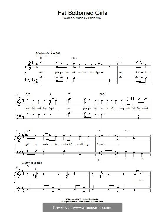 Fat Bottomed Girls: Für Klavier, leicht (Queen) by Brian May