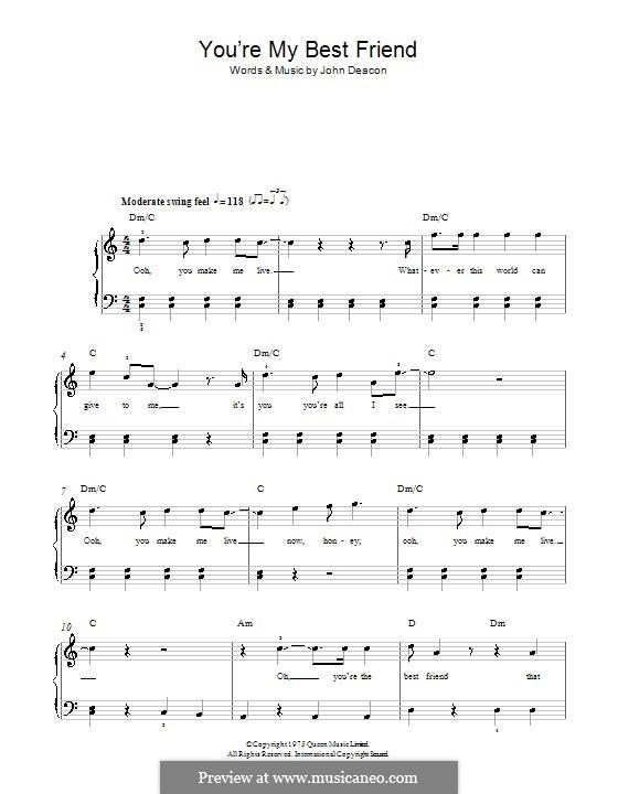 You're My Best Friend (Queen): Für Klavier, leicht by John Deacon