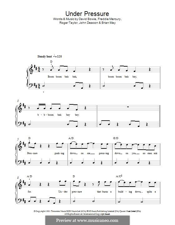 Under Pressure (David Bowie & Queen): Für Klavier, leicht by Brian May, David Bowie, Freddie Mercury, John Deacon, Roger Taylor