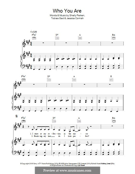 Who You Are (Jessie J): Für Stimme und Klavier (oder Gitarre) by Jessica Cornish, Shelly Peiken, Tobias Gad