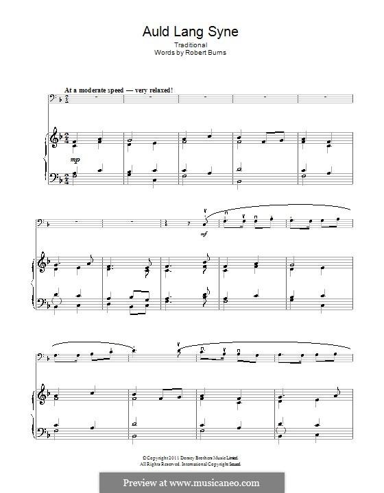 Auld Lang Syne: Für Cello und Klavier by folklore