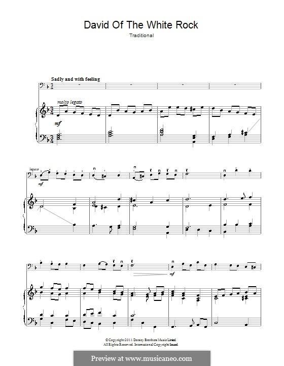 David of the White Rock: Für Cello und Klavier by folklore