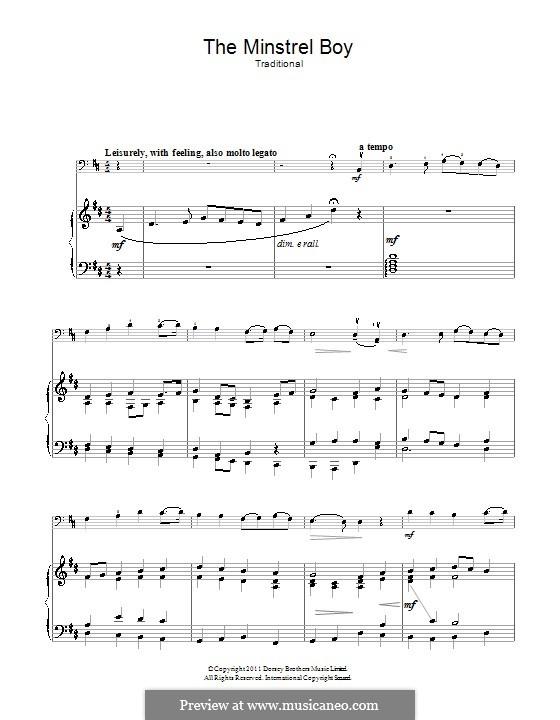 The Minstrel Boy (The Moreen): Für Cello und Klavier by folklore