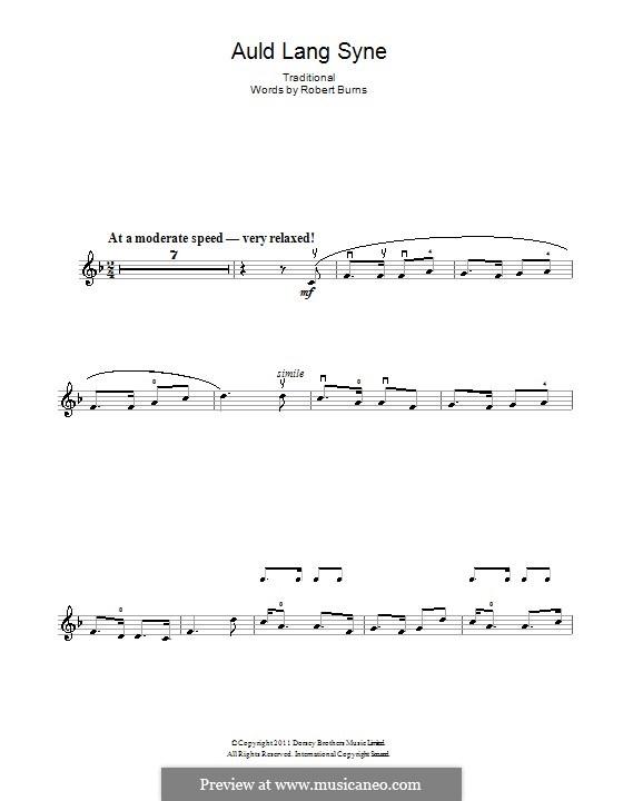 Auld Lang Syne: Für Violine by folklore