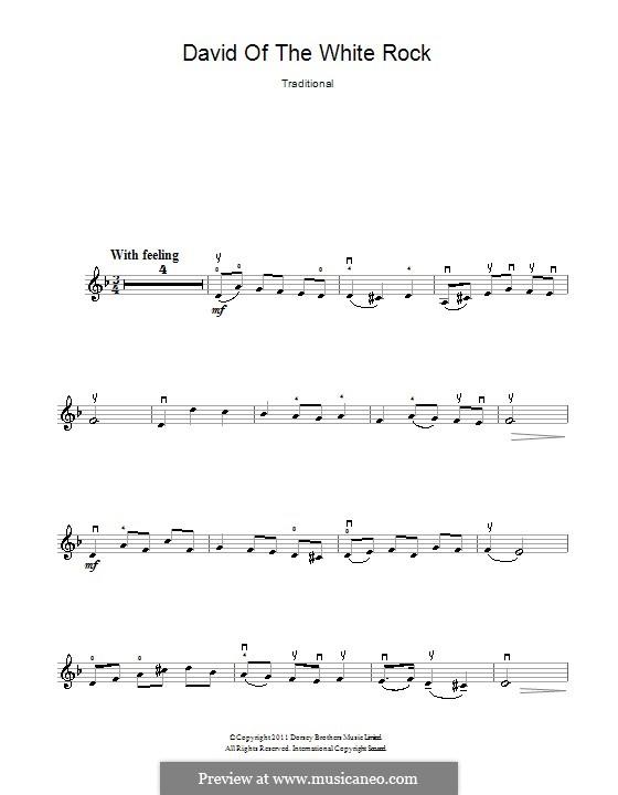 David of the White Rock: Für Violine by folklore