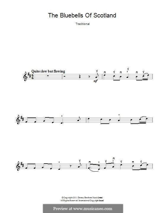 Blue Bells of Scotland: Für Violine by folklore