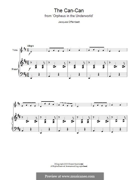 Cancan: Für Violine und Klavier by Jacques Offenbach