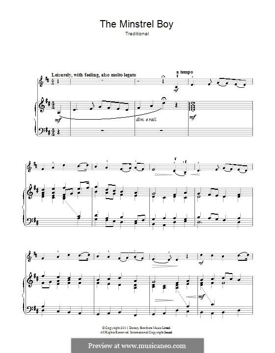 The Minstrel Boy (The Moreen): Für Violine und Klavier by folklore
