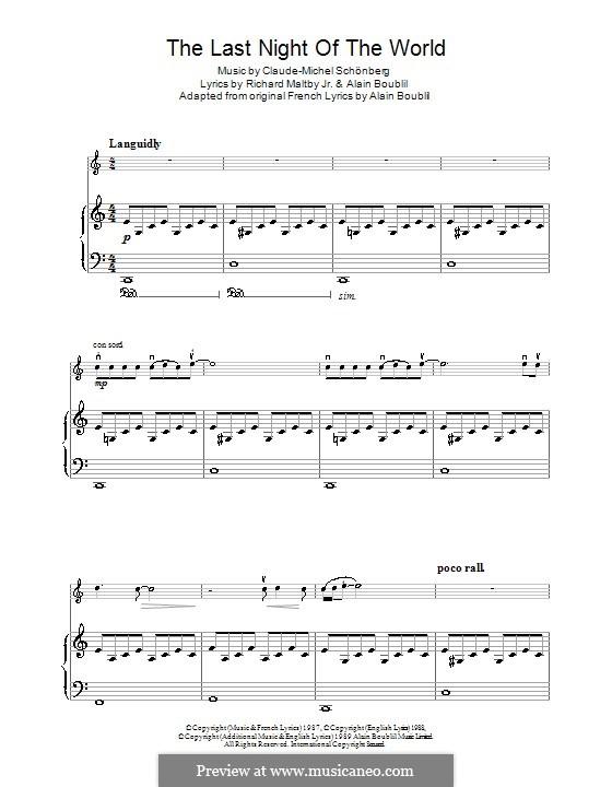 The Last Night of the World: Für Violine und Klavier by Claude-Michel Schönberg